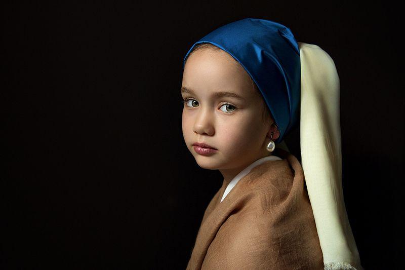девчока, портрет, вермеер Девочка с жемчужной сережкойphoto preview