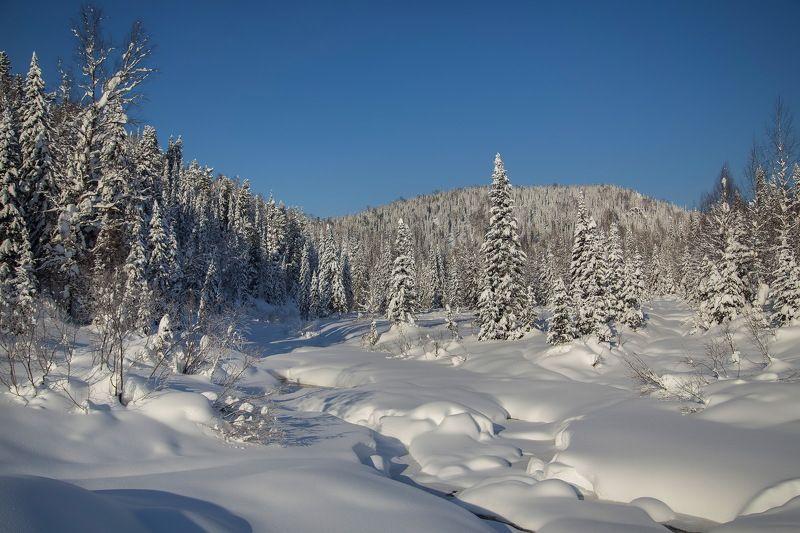река, амзас, кузнецкий алатау, природа, зима, пейзаж, снег, Река Амзас. Кузнецкий Алатауphoto preview