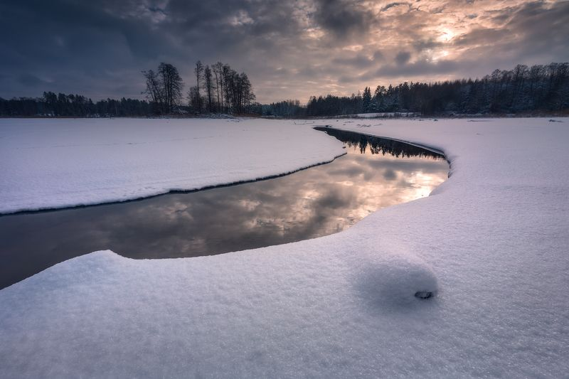winter snow poland podlasie sky water clouds colors mood komosa golden hour sunset cool Winter wonderland...photo preview