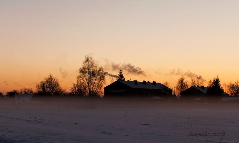 метель,lithuania,evening,snow,after sunset,smoke,fog,mist Mетельphoto preview