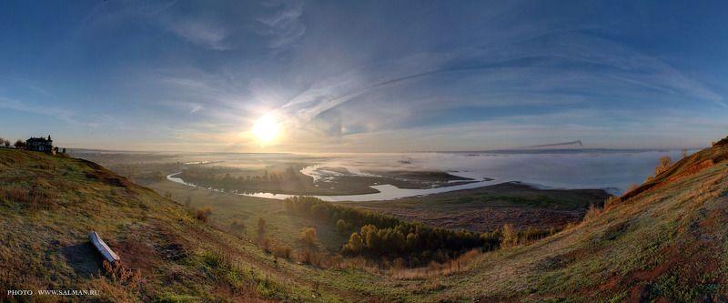 елабуга,осень,река,туман,кама,тойма,чертово городище, Чертово городищеphoto preview