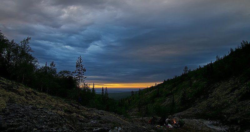хибины, вечер, закат, костер ***photo preview