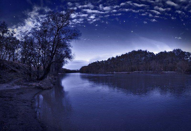 река, вода, деревья, протока, ночь Silent Nightphoto preview