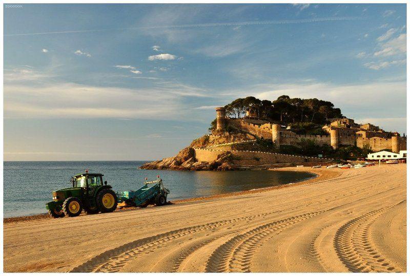 испания, тосса, де, мар, море, берег, крепость, трактор photo preview
