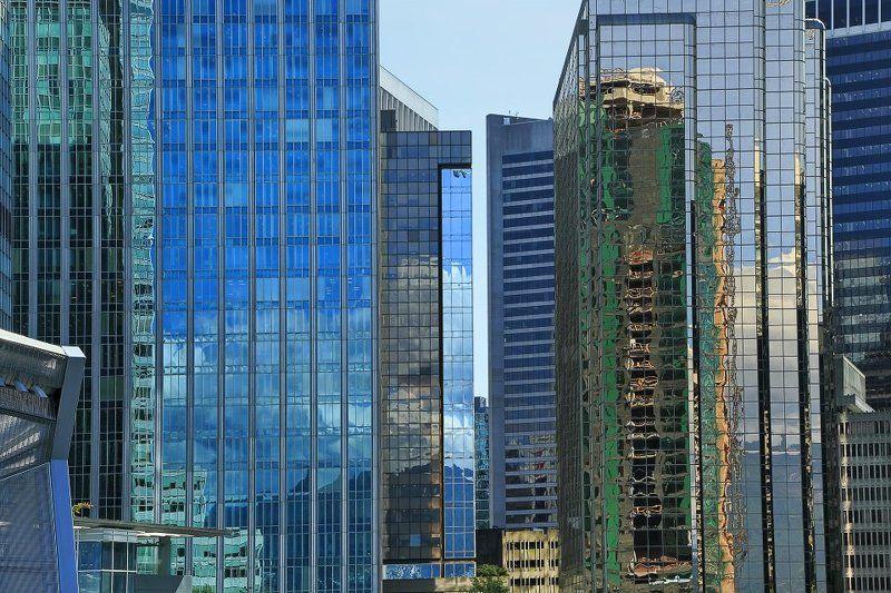 отражение, цвет, окна, город, ванкувер Ванкувер в отражениях Даунтаунаphoto preview