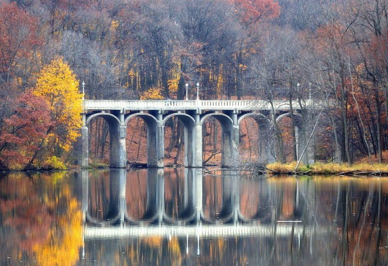 мосты, озеро, природа, пейзаж, осень, лес Мостикphoto preview