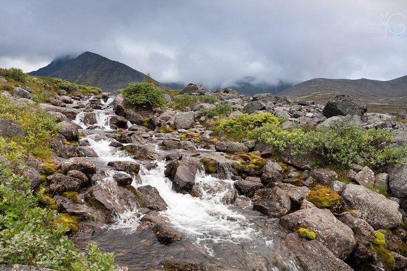 хибины, заполярье, горы, ручей, поток, ферсмана, меридиональный, каскад, водопад Ручейки Заполярьяphoto preview