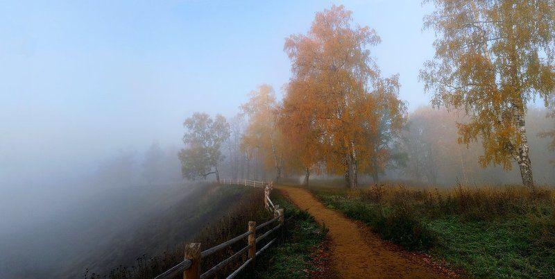 плёс, плес, осень, туман, соборная гора Дорогой в ...photo preview