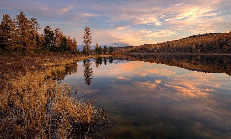 пейзаж, природа, вечер, осень, озеро, закат, алтай Закат на озере Кеделюphoto preview