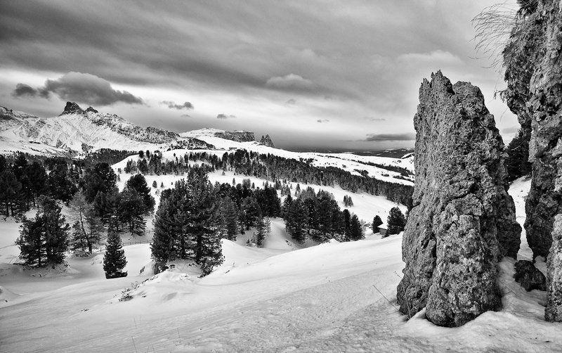 горы, зима, снег, облака ***photo preview