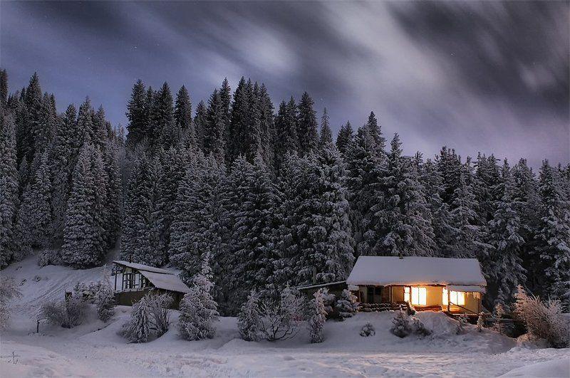 ночь,зима,домик,горы ***photo preview