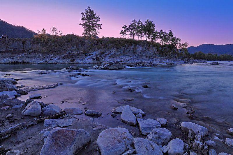 природа, пейзаж, алтай, река, вечер, закат Начиналась ночь...photo preview