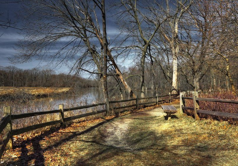 скамеечка, природа, путешествия, день, весна, река, деревья, сша скамеечка 2photo preview