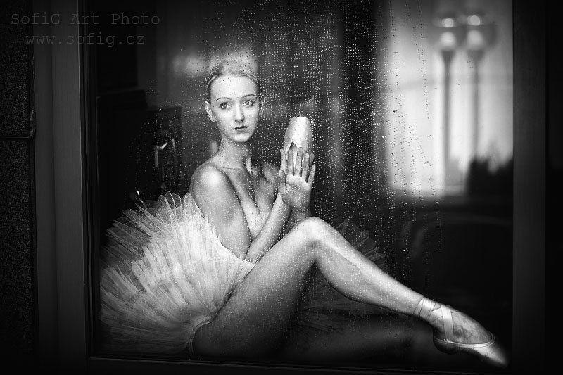 ballet, ballerina, tanec, dance, sofig, portrait, black and white ...photo preview