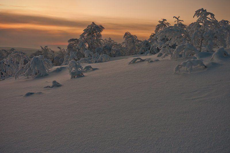 кольский, полуостров, зима, север Полярный закатphoto preview