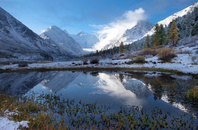 алтай, горный алтай, горы, пейзаж, осень, ак-кем, белуха Осенне-зимнее утроphoto preview