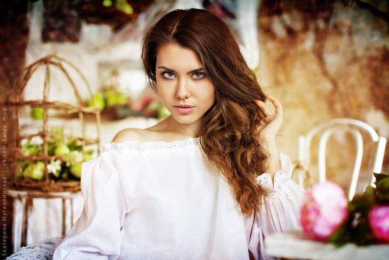 девушка, портрет, красиво, мило, нежно, студия, цветы Рита. \