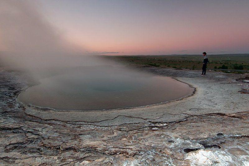 haukadal,geysir,hot,pool,iceland,sunset,midnight hot pool @ Haukadalphoto preview