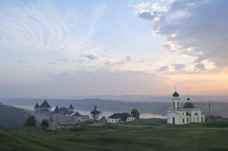 хотинська фортеця, хотинський національний природний парк, дністер, днестр, утро, рассвет Хотинскька фортецяphoto preview