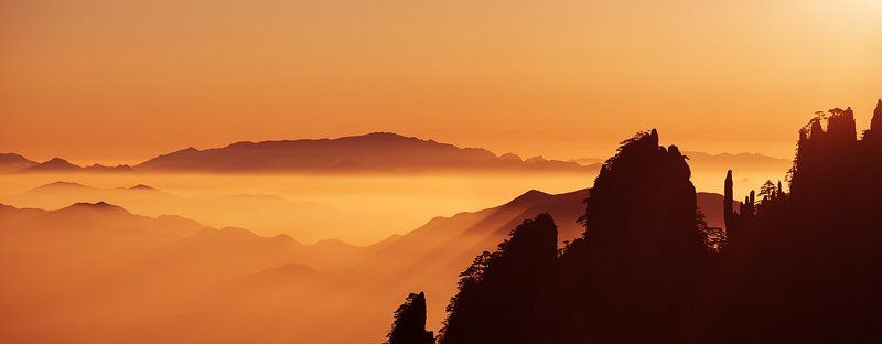 huangshan, china, sunrise, golden, mist Sunrise over Huangshanphoto preview