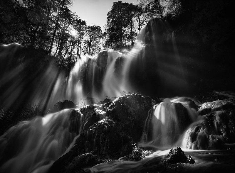 ray, light, sun, waterfall, jiuzhaigou, china Rays of light over Panda Lake waterfallphoto preview