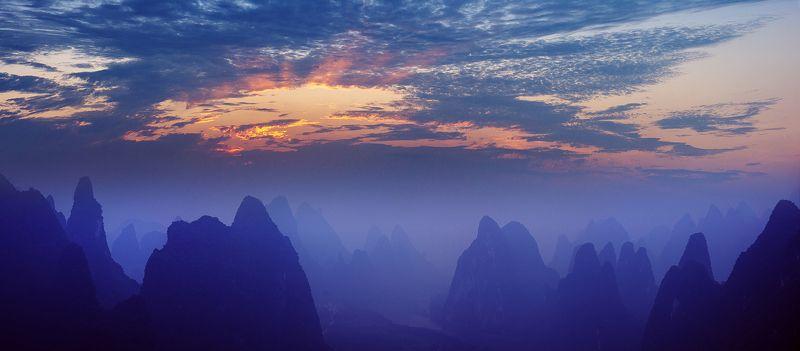 china, guilin, li, river, yangdi, sunrise Sunrise over Li Riverphoto preview