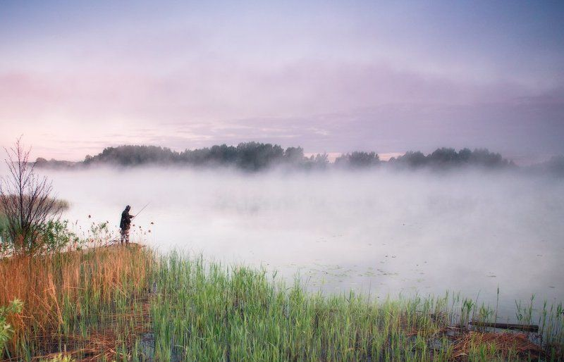 утро, рассвет, рыбак, туман ...Про рыбака...photo preview