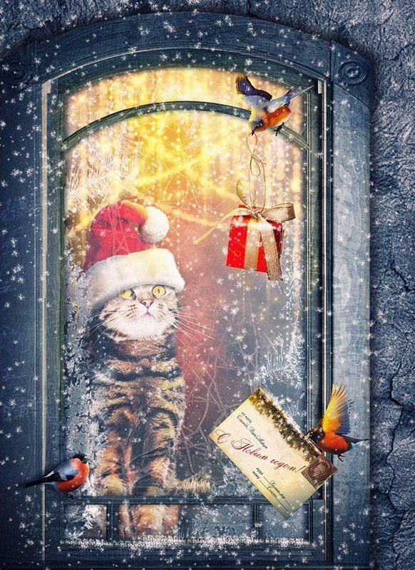 коллаж, фотоарт, фотошоп, рождество Рождественский подарокphoto preview