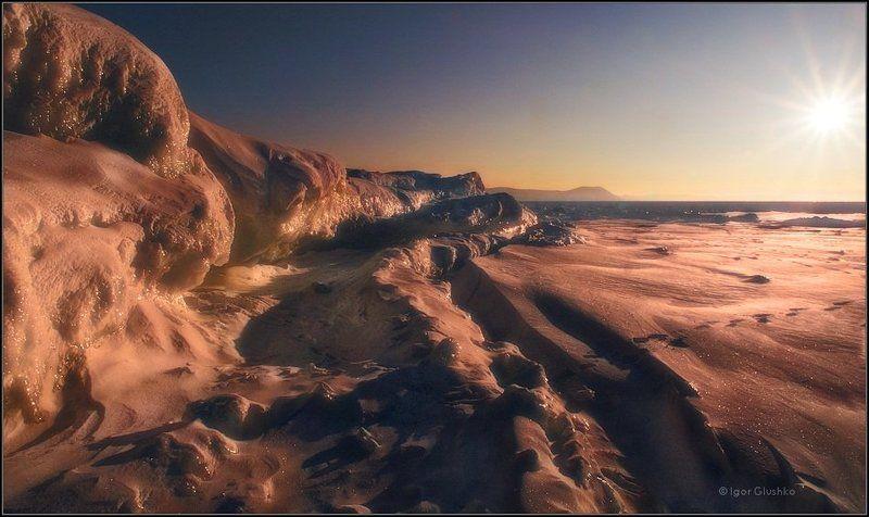 байкал, лед, закат, зима Сокуиphoto preview