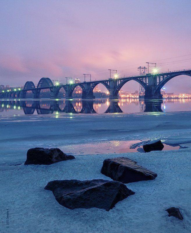 днепр, река, закат, днепропетровск, мост, камни, зима Днепр вечерний...photo preview