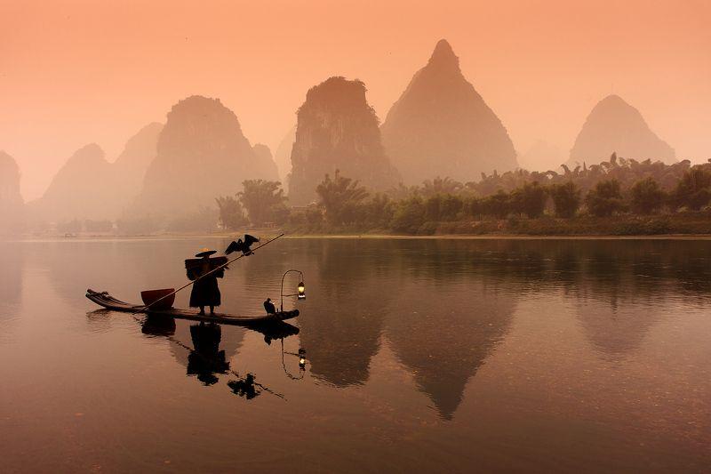 cormorant, fisherman, li, river, mountains, reflections, sunrise Cormorant fisherman on Li riverphoto preview
