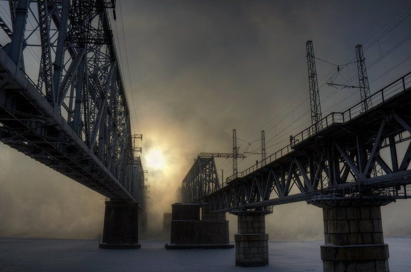 туман, мост, солнце Два мостаphoto preview