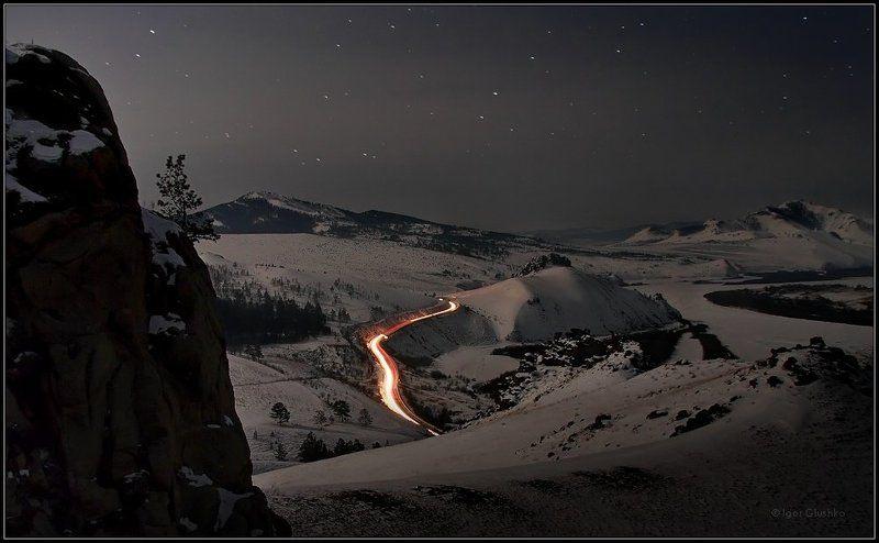 бурятия, горы, зима, ночь Под лунно-звездным покрываломphoto preview