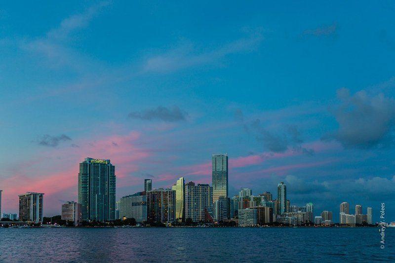 America, Downtown, Miami, Usa, Америка, Вечер, Вода, Город, Майами, Сша Downtown Miamiphoto preview