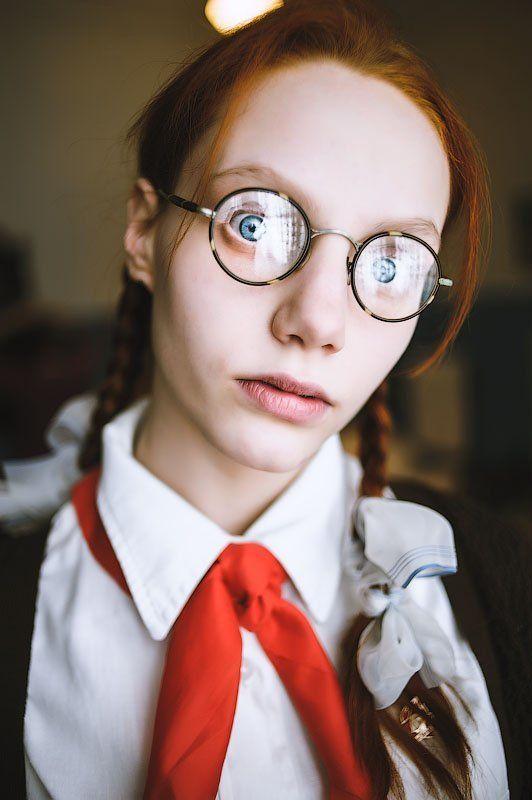 young, girl, очки, галстук, пионер, октябрёнок, девочка Анька. Школьноеphoto preview