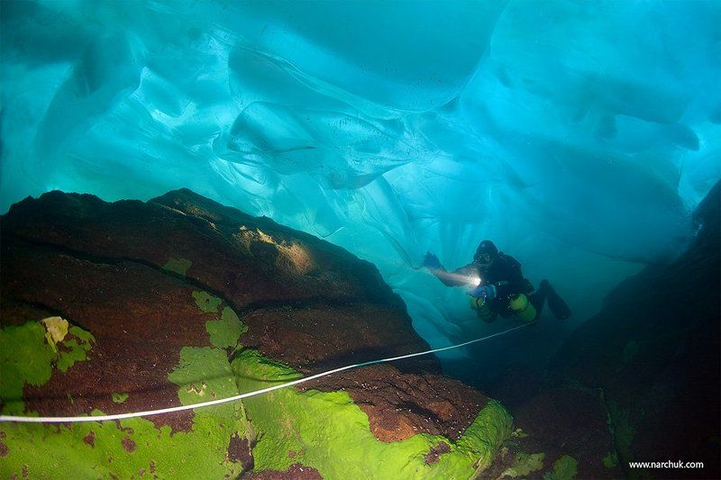 байкал, озеро, лед, дайвинг, техно, камни, дайвер В сердце Байкалаphoto preview