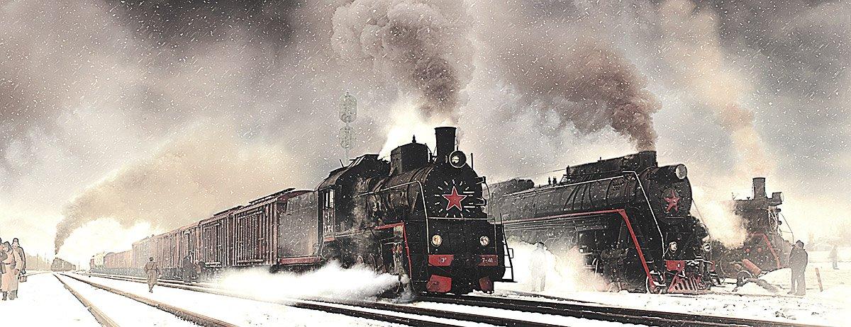 паровоз, серии, л, эр, вагоны, состав, железная, дорога, Boji