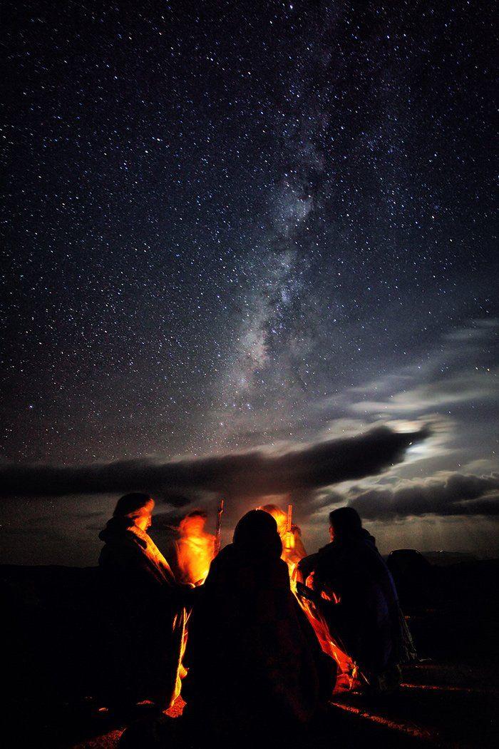 звезды, костер, млечный путь, ночь, огонь, пастух, симиен, эфиопия, Бирюков Юрий