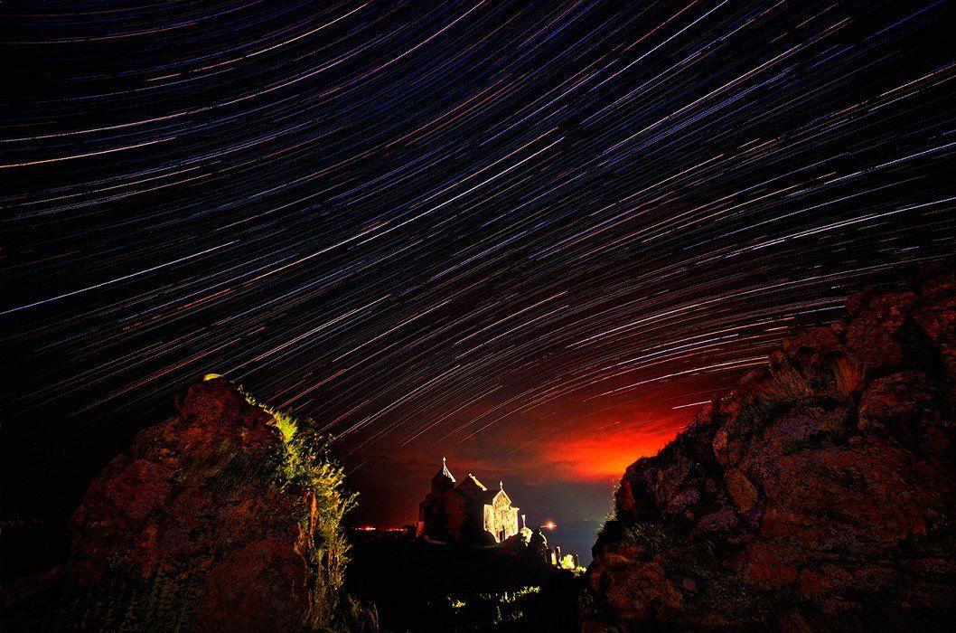 Армения, Звезда, Звезды, Ночь, Свет, Храм, Церковь, Бирюков Юрий