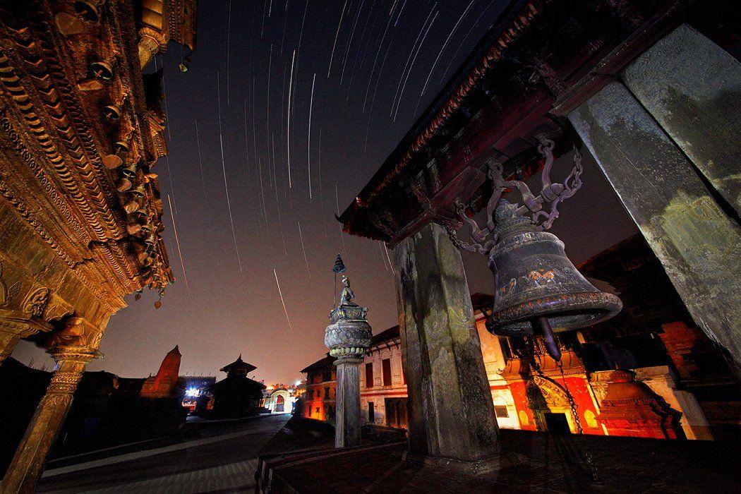 архитектура, бхактапур, звезды, индуизм, непал, ночь, храм, Бирюков Юрий