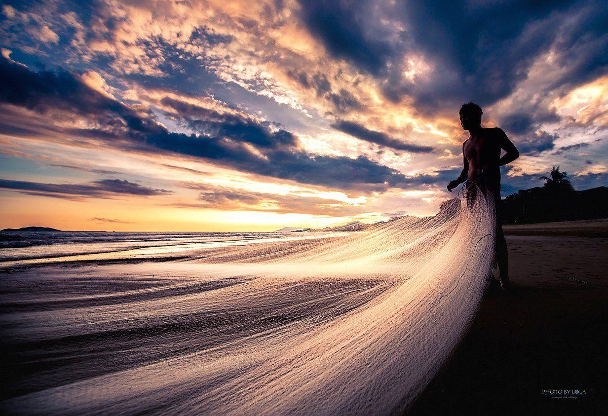 Вечер, Закат, Красота, Море, Пляж, Рыбак, Санья, Сети, Солнце, Хайнань, Лола Пидлуская
