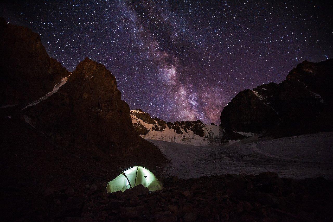 Glacier, Ice, Milky way, Mountains, Night, Sky, Tent, Anton Akhmatov