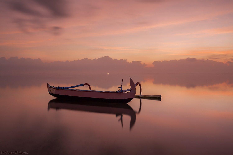 рассвет, бали, индонезия, лодка, Антон Садомов