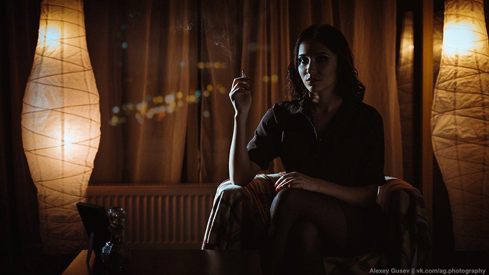 cigarette, city, dark, girl, night, noir, smoke, Алексей Гусев