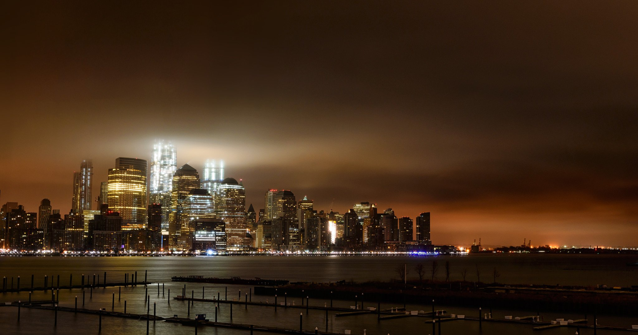 NYC, wtc, evening, lights, clouds, Роман Джаджа