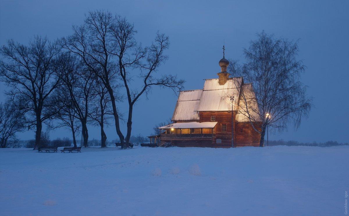 суздаль,церковь,кремль,деревянная,метель,зима,вечер,подсветка,архитектура,снег,сумерки, Горшков Игорь
