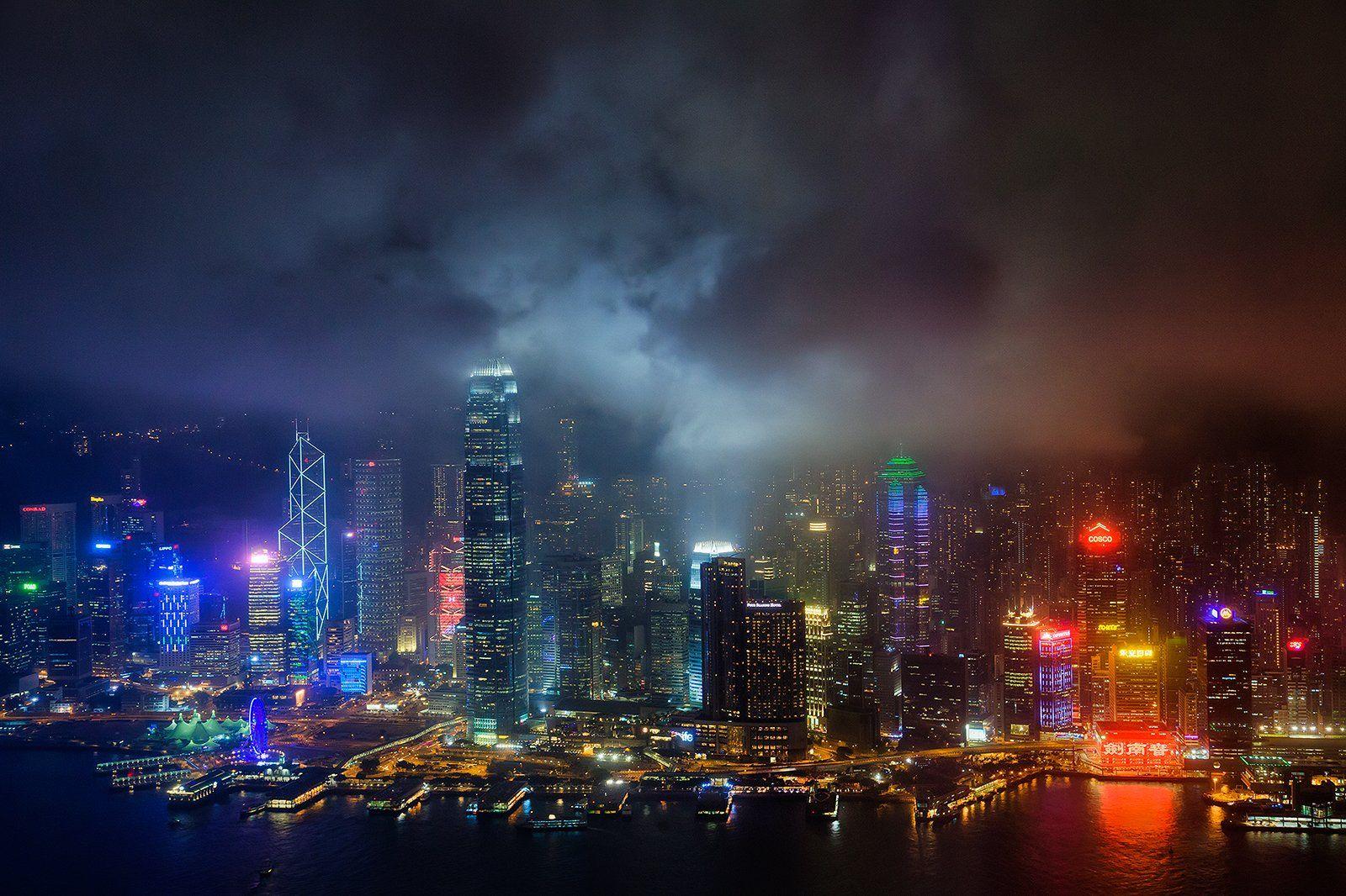 Гонконг, Китай, небоскреб, вечер, тучи, цвет, Бирюков Юрий