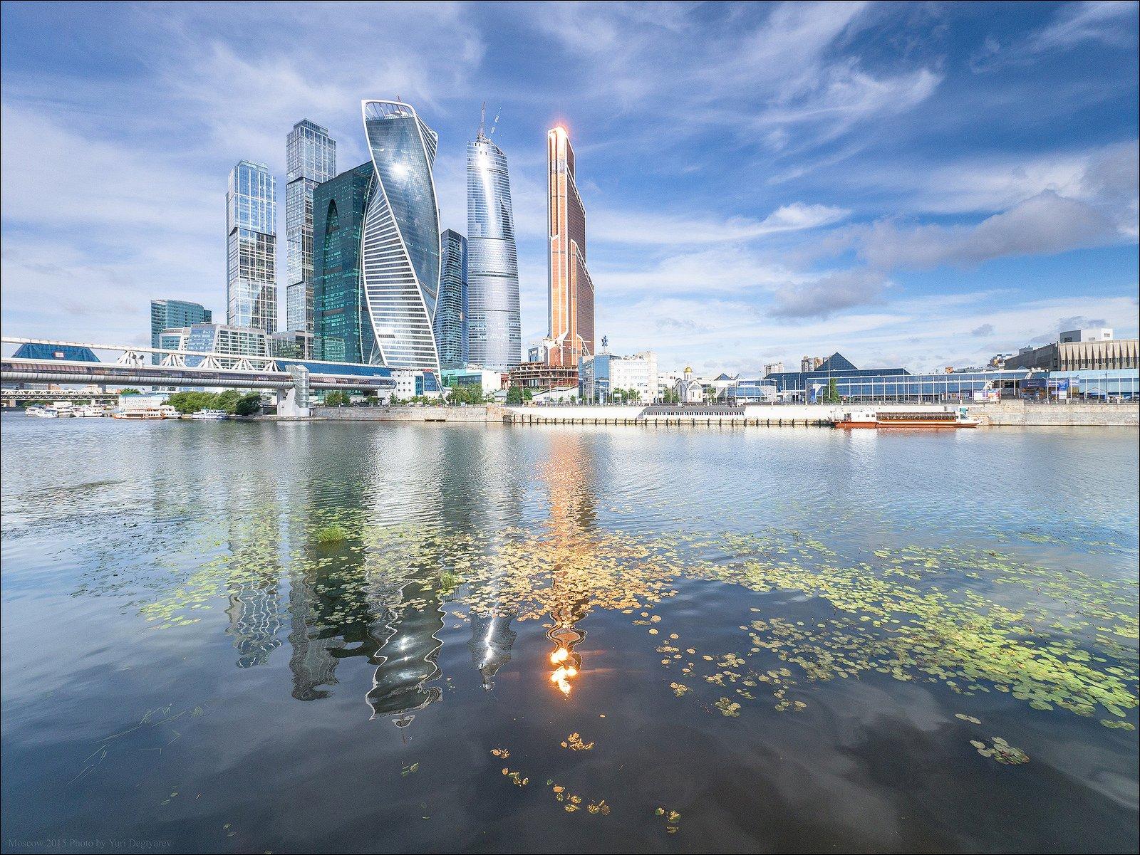 Москва, Небоскрёбы, Облака, Река, Россия, Сити, Юрий Дегтярёв