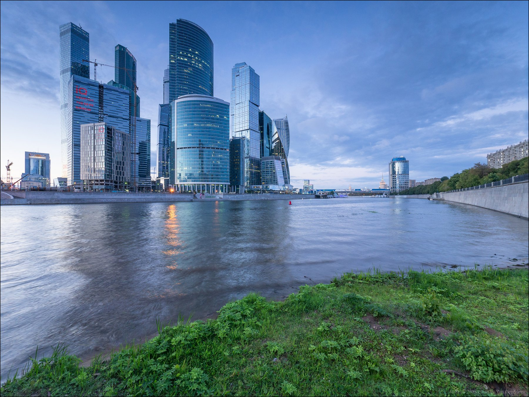 City, Evening, Moscow, River, Russia, Skyscrapers, Вечер, Город, Москва, Небоскребы, Река, Россия, Сити, Юрий Дегтярёв