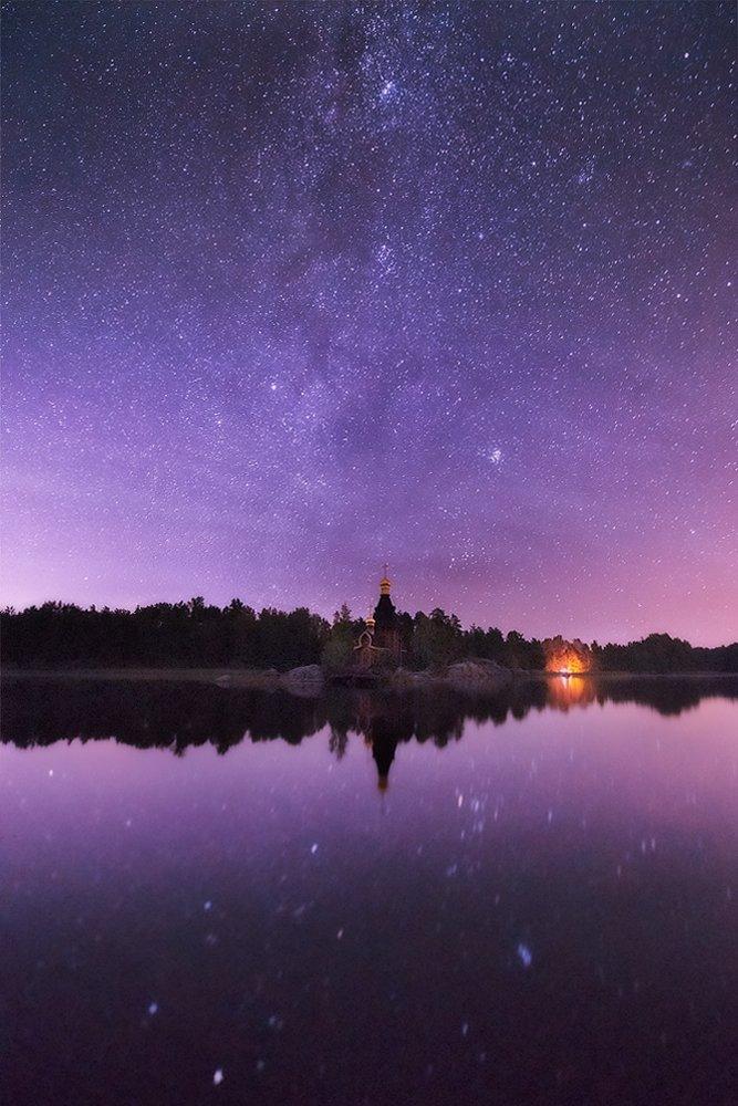 Вуокса, Звезды, Ленинградская область, Ночь, Церковь, Sergey Louks